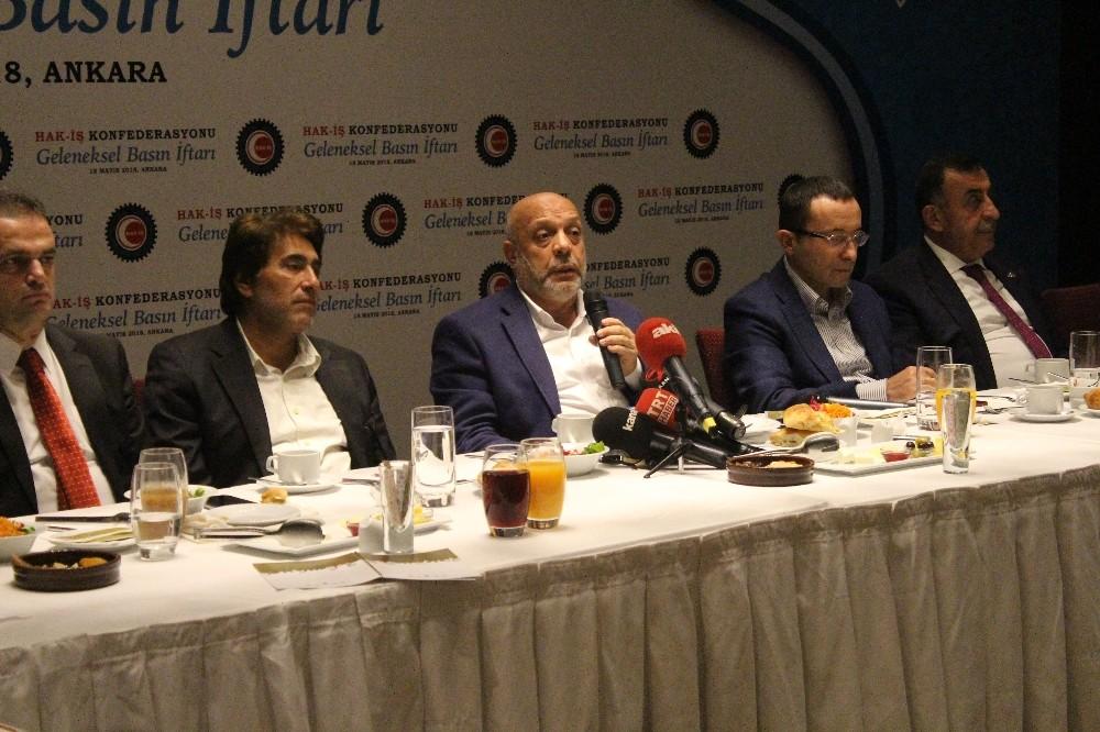 HAK-İŞ Genel Başkanı Arslan, basın mensuplarıyla iftarda buluştu