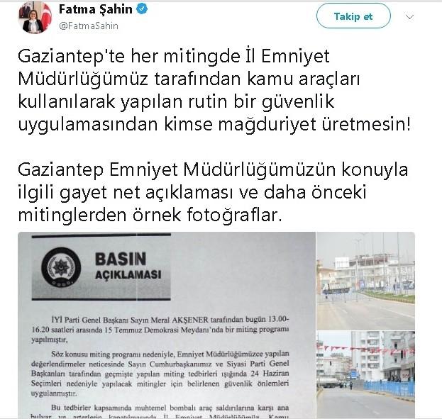 Fatma Şahin'den Akşener'in iddialarına cevap: ″Kimse mağduriyet üretmesin″