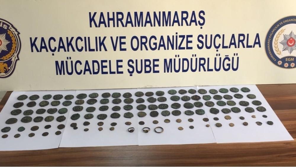 Kahramanmaraş'ta Roma dönemine ait 122 adet sikke yakalandı