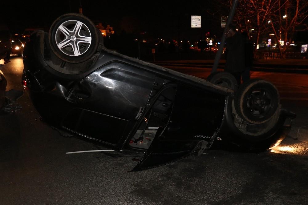 Araç sürücüsü takla attığı araçtan burnu bile kanamadan çıktı