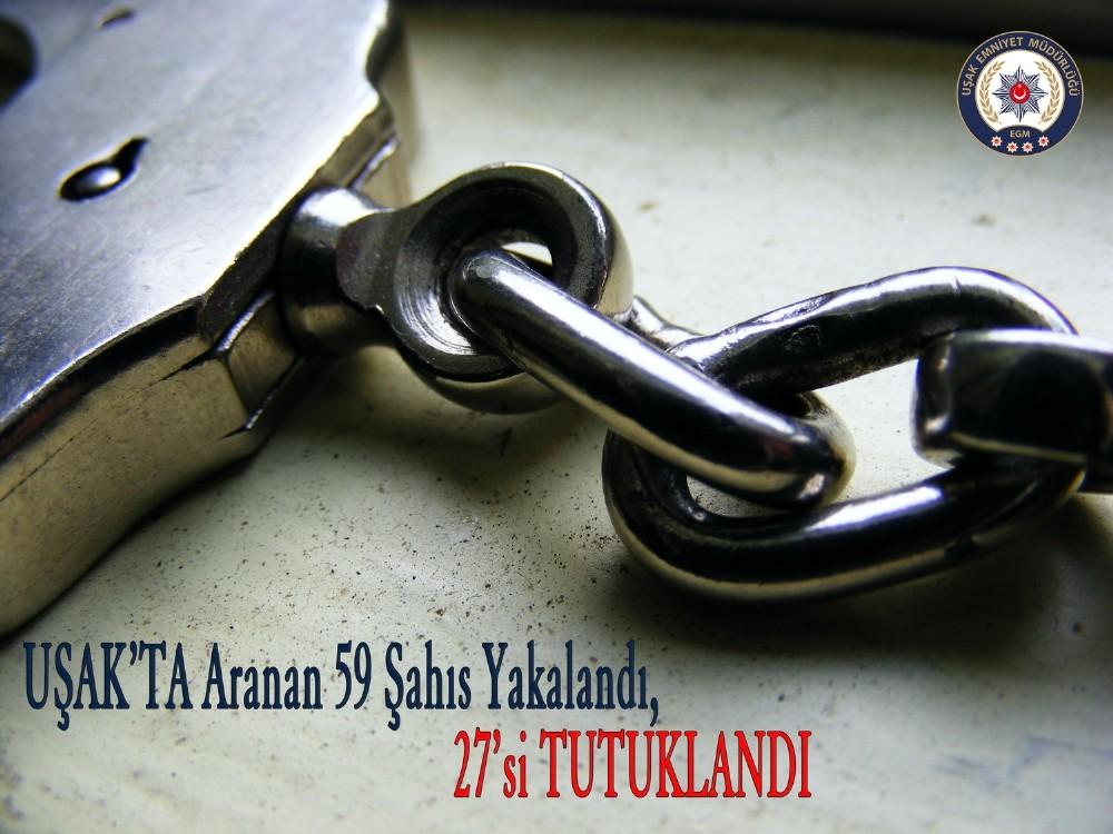 Uşak'ta yakalanan 59 şahıstan 27'si tutuklandı