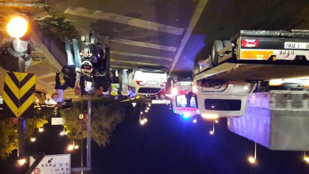 E-5'te kaza: motosiklet sürücüsü yaralandı