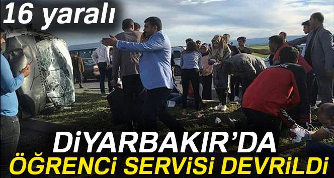 Diyarbakır'da öğrenci servisi devrildi