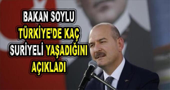 İçişleri Bakanı Türkiye'deki Suriyeli Sayısını Açıkladı