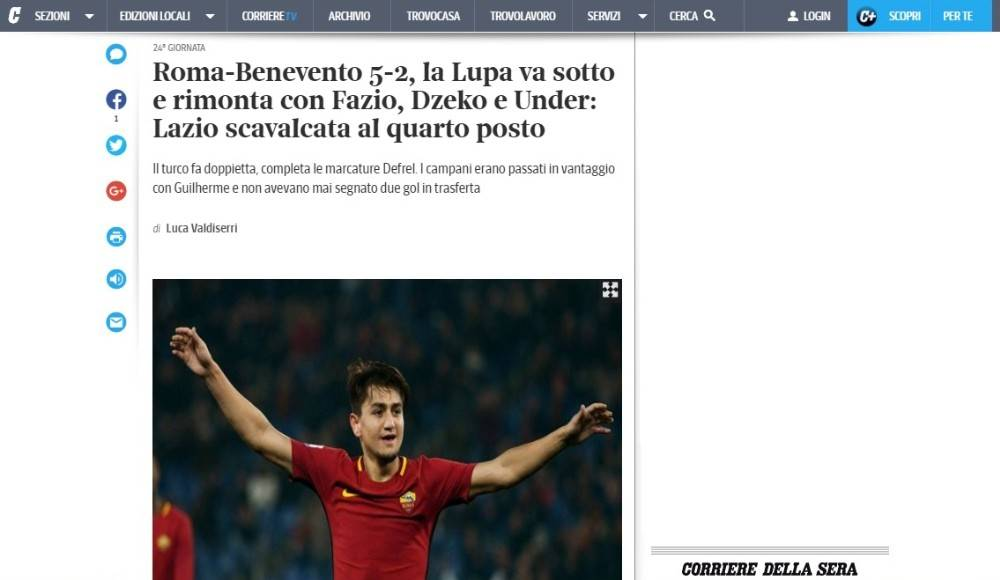 İtalya'da manşet Cengiz Ünder oldu