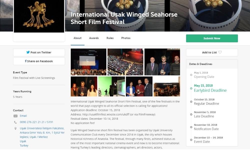 5. Uluslararası Uşak Kanatlı Denizatı Kısa Film Festivali'nin başvuru süreci rekorlarla başladı