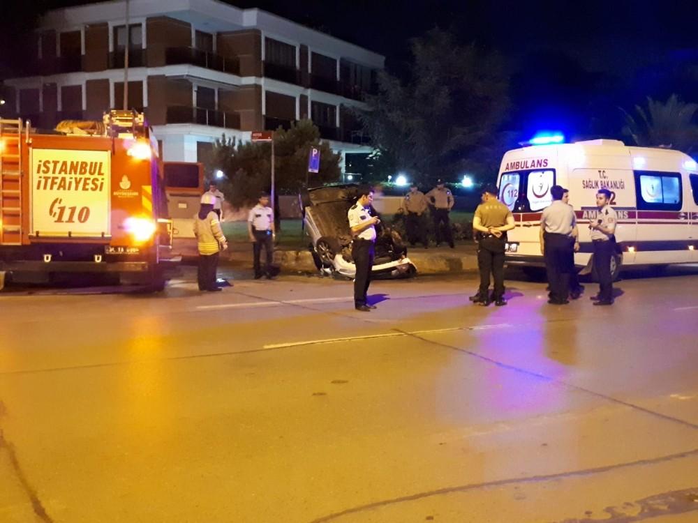 Sahil yolunda otomobil takla attı: 1 yaralı