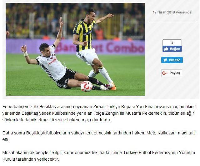 Fenerbahçe Kulübü: ″Tolga Zengin ve Mustafa Pektemek tahrik etti″