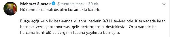 """Başbakan Yardımcısı Şimşek: """"Hükümetimiz mali disiplini korumakta kararlı"""""""