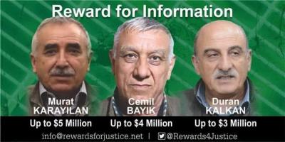 ABD PKK'nın 3 Tepe İsminin Başına Ödül Koydu