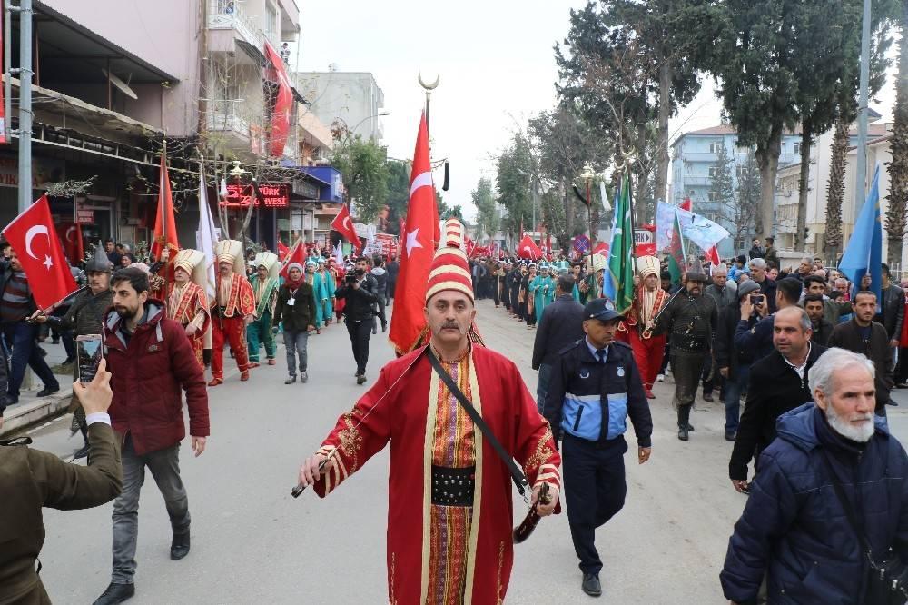 Sınırın sıfır noktasında, Mehmetçiğe destek için mehteranlı yürüyüş