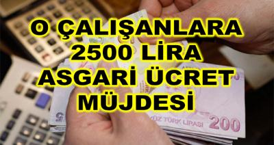 O Çalışanlara 2500 Lira Asgari Ücret Müjdesi